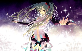 Picture girl, magic, stockings, art, gloves, vocaloid, hatsune miku, Vocaloid, miku append, rozer
