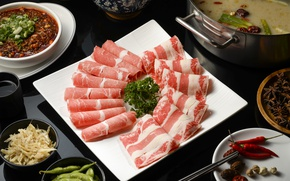 Picture soup, meat, vegetables, meals, cuts