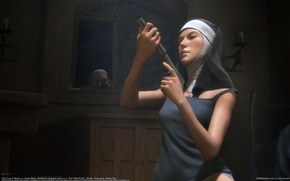 Wallpaper gun, weapons, nun, Michor Lu