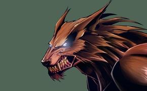 Picture wolf, werewolf, green background, wolf, toothy, werewolf