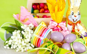 Wallpaper Easter, eggs, gifts, braid, chocolate Bunny, chocolate, lilies of the valley