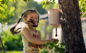Picture summer, water, love, joy, happiness, childhood, tree, the wind, beauty, girl, braids, cottage, sink, Elena …