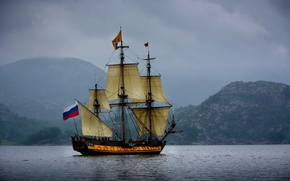 Picture sea, mountains, sailboat, Norway, frigate, Norway, The Norwegian sea, Norwegian Sea, the frigate Shtandart, Standard