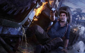 Picture crash, the sky, Palma, gun, weapons, fire, home, Sony, Nathan Drake, Naughty Dog, Nathan Drake, ...