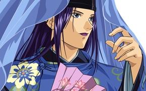 Picture face, hat, blanket, fan, guy, hikaru no go, fujiwara no sai, by takeshi obata
