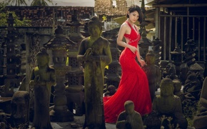 Picture girl, style, dress, Asian, red dress, statues