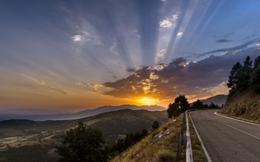 Picture road, landscape, sunset