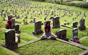 Picture girl, pose, yoga, cemetery, Kylie Woon