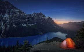 Picture mountains, lake, rocks, the evening, Canada, tent, Albert