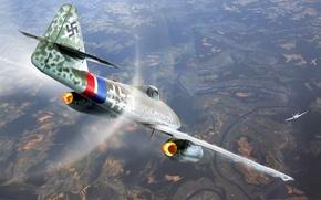 Picture figure, mustang, art, Messerschmitt, dogfight, Me.262, p-51, Swallow, German turbojet fighter