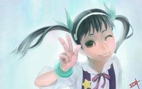 Picture smile, art, girl, bracelet, school uniform, bakemonogatari, winks, gamerag, hachikuji mayo believe
