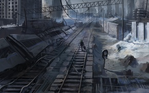 Picture the city, people, rails, art, railroad, suitcase, romance of the Apocalypse, romantically apocalyptic