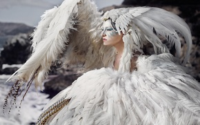 Picture girl, bird, feathers