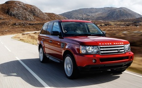 Picture mountains, Red, Land Rover