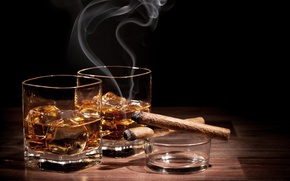 Picture whiskey, ice, cigar, a glass of whiskey, glass, cigar, ice