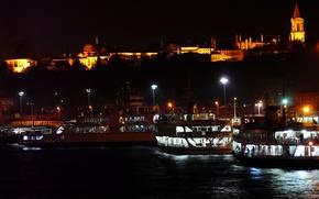 Picture night, ship, Palace, ship, Istanbul, istanbul, Topkapi Palace