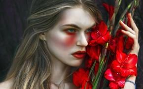 Picture girl, fantasy, art, Magda, Agnieszka Lorek, Tears and gladiolus