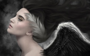 Picture sadness, angel, feathers, tear