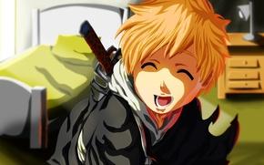Picture kawaii, wallpaper, game, Bleach, anime, power, katana, boy, ken, bed, asian, cute, bedroom, lamp, manga, …