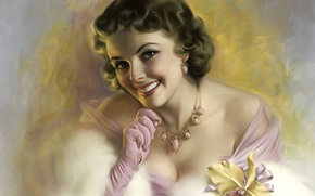 Picture look, girl, smile, retro, portrait, hairstyle, beauty, neckline, gloves, Orchid, necklace, Flirty