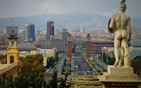 Picture the sky, mountains, tower, home, haze, statue, sculpture, Spain, Barcelona, Barcelona