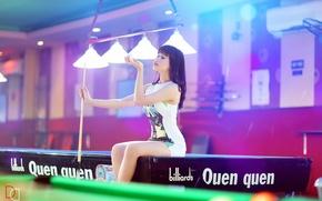 Wallpaper girl, table, Billiards