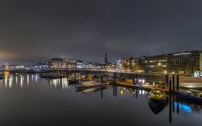 Picture night, bridge, lights, river, home, Germany, pier, lights, boats, promenade, Hamburg