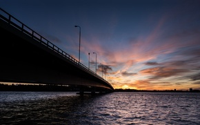 Picture sea, wave, the sky, water, the sun, clouds, sunset, bridge, nature, the city, river, background, ...