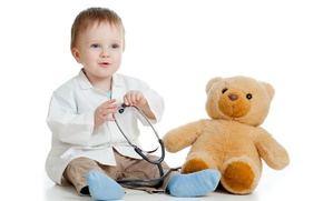 Picture boy, bear, child, Bathrobe, stethoscope, white background, young doctor