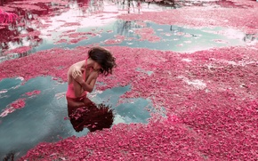 Picture girl, river, for, flowering, in the water
