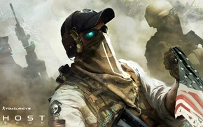 Picture weapons, flag, soldiers, Future Soldier, Ghost recon