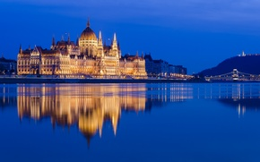 Picture reflection, river, the building, Hungary, Hungary, Budapest, The Danube, Budapest, Danube, The Hungarian Parliament, Hungarian ...