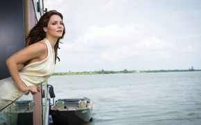 Picture landscape, nature, river, boat, figure, dress, actress, hairstyle, photographer, singer, brown hair, journal, in white, …