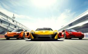 Picture three, mixed, supercars, McLaren MP4-12C, McLaren P1, McLaren MP4-12C Spyder