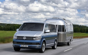 Picture volkswagen, silver, road, blue, multivan