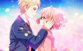 Picture girl, anime, art, glasses, guy, two, dorris, kyoukai no kanata, mirai kuriyama, kanbara akihito