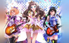 Picture look, smile, girls, wings, guitar, anime, art, glasses, microphone, the guardian, anime, beyond, dresses, speech, …