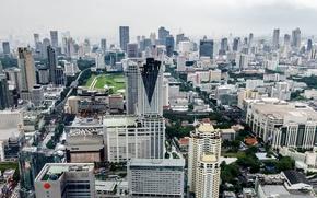 Wallpaper Asia, Bangkok, city, the city, rain, stree, rain, skyscraper, the building, home, buiding, Thailand, asia, ...