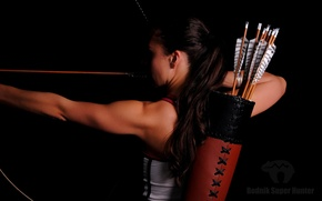 Picture woman, pose, shooting, archery, practice, hunting, bow and arrow