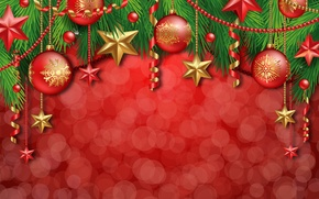 Picture decoration, balls, tree, New Year, Christmas, Christmas, balls, decoration, Merry