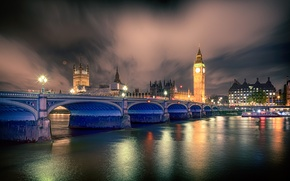 Picture night, bridge, lights, river, watch, London, tower, lights, UK, Thames, Big Ben, Palace