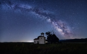 Picture field, stars, tree, hills, The Milky Way, Bulgaria, Sofia, secrets, St. Peter and Paul Chapel
