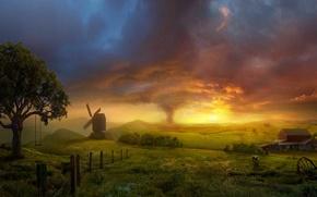 Wallpaper swing, Field, storm, mill, tornado