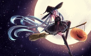 Picture the sky, girl, stars, the moon, hat, anime, art, pumpkin, witch, broom, vocaloid, hatsune miku, ...