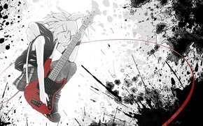 Picture girl, guitar, anime, vocaloid, kagamine rin