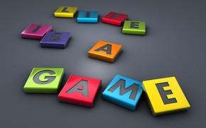 Picture life, letters, grey, the game, colorful, Life Is A Game