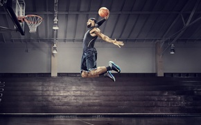 Wallpaper jump, basketball, basketball, james, slen dunk, nba all star 2012