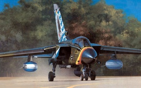 Picture figure, art, fighter-bomber, Panavia, Tornado, combat jet aircraft with variable sweep wing, IDS