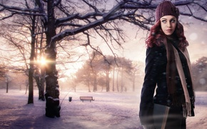 Picture winter, girl, the sun, snow, trees, nature, background, fiction, hat, beauty, scarf, book, red, bench