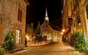 Picture night, tree, Canada, Christmas, garland, NOVOGODNIE, Quebec,